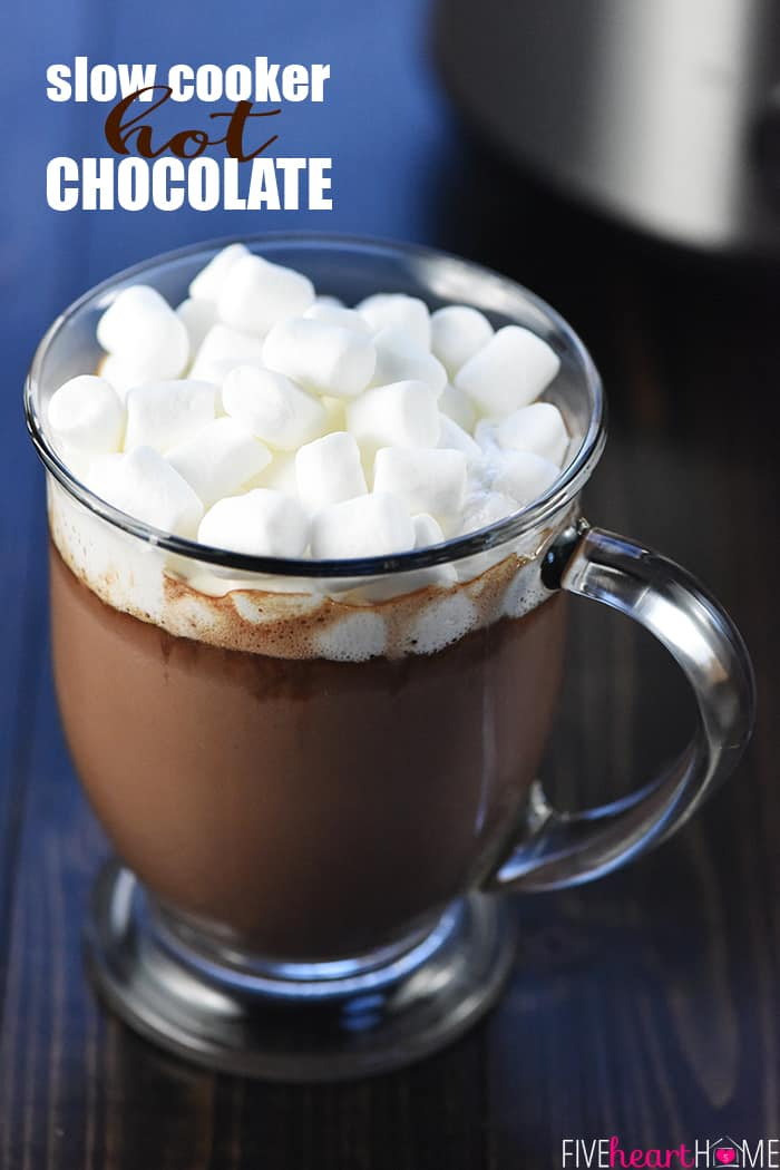 Crock Pot Hot Chocolate ~ using a slow cooker is the easiest way to make a big batch of rich, decadent hot cocoa for a crowd, and four flavor variations make it extra yummy: regular, salted caramel, peppermint, and Mexican hot chocolate! | FiveHeartHome.com
