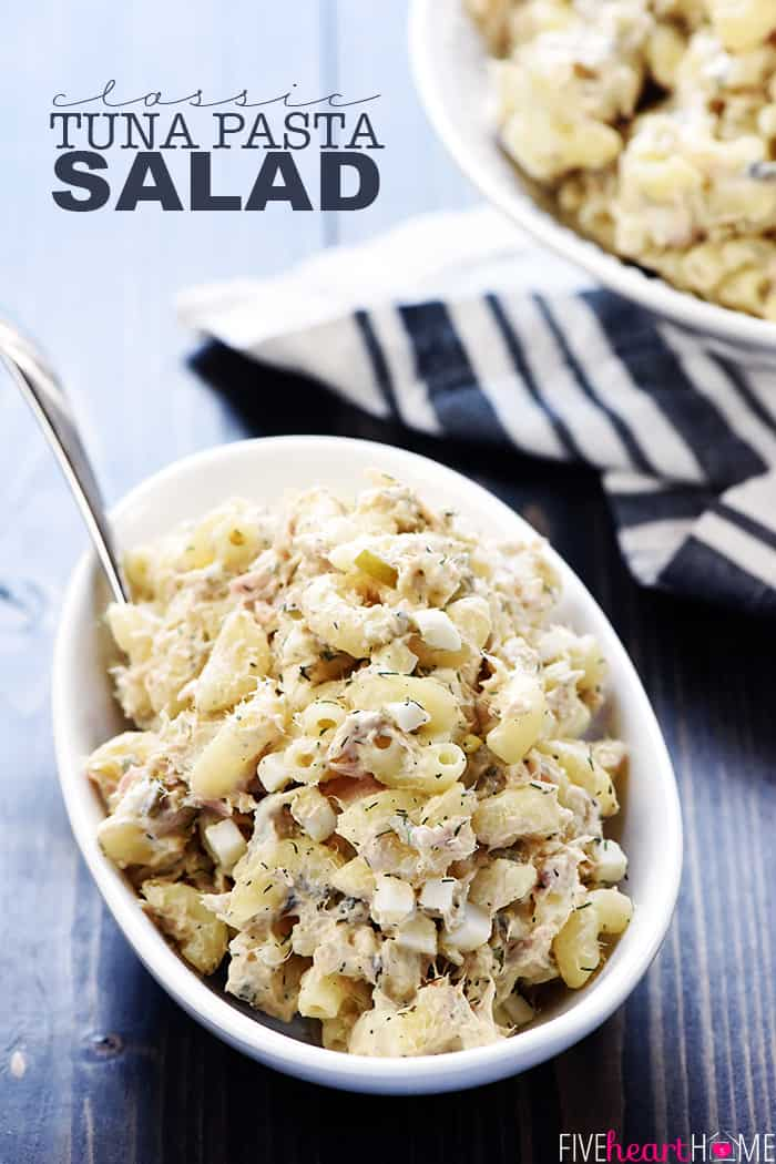 Classic Tuna Pasta Salad ~ with whole wheat macaroni, hard-boiled eggs, two kind of pickles, and fresh dill in a lightened-up dressing of mayonnaise and Greek yogurt, this simple, creamy recipe is great for lunch or dinner! | FiveHeartHome.com