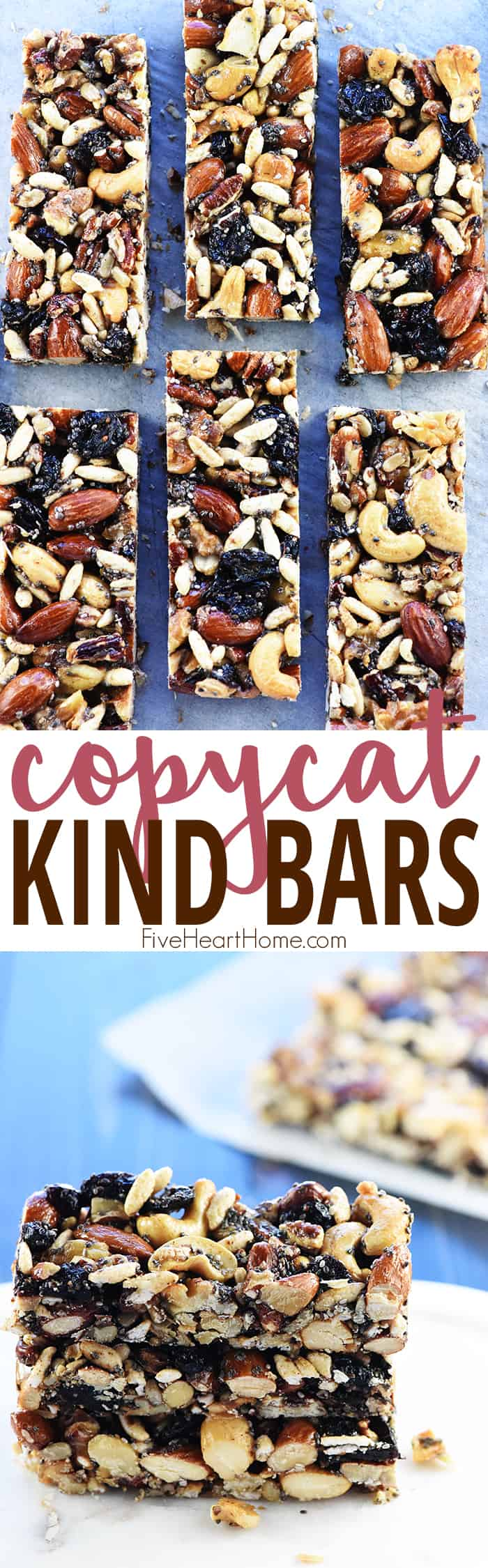 Copycat KIND Bars ~ a homemade version of the popular, wholesome, nut-packed energy bars...use your favorite ingredients to make them economically at home! | FiveHeartHome.com via @fivehearthome