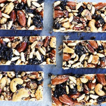 Copycat KIND Bars ~ a homemade version of the popular, wholesome, nut-packed energy bars...use your favorite ingredients to make them economically at home! | FiveHeartHome.com