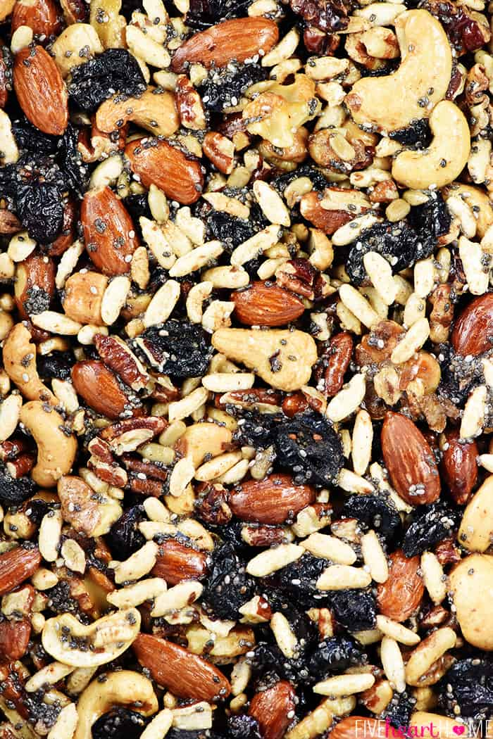 Aerial view of fruit and nut mixture.