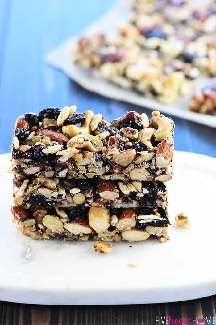 Homemade KIND Bars on a plate.