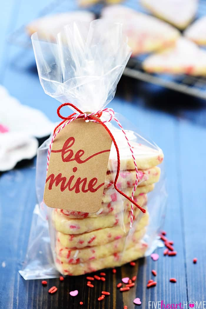 Heart shaped cookies in cellophane bag with tag for Valentine gift giving.
