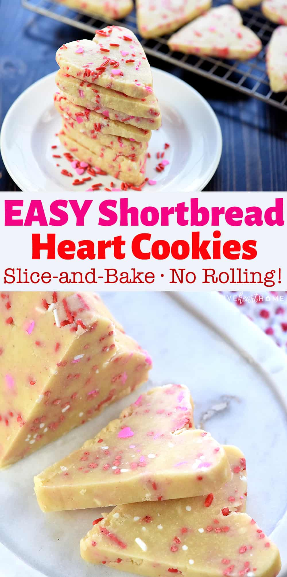 Easy Shortbread Heart-Shaped Cookies ~ slice-and-bake treats that are loaded with sprinkles, perfect for Valentine's Day, and don't even require a cookie cutter! | FiveHeartHome.com via @fivehearthome