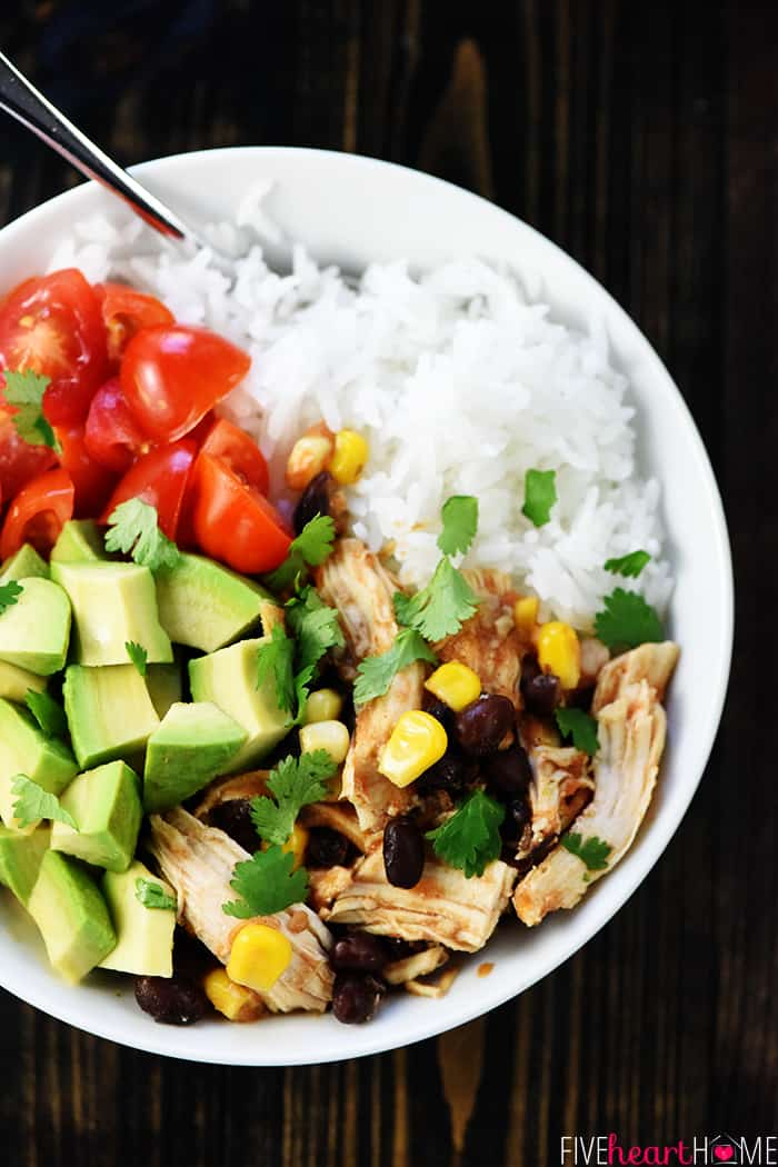 Shredded Chicken Tacos Bowl with Rice in White Bowl