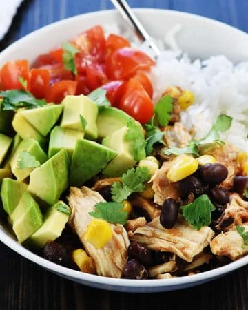 Pressure Cooker Chicken Burrito Bowl