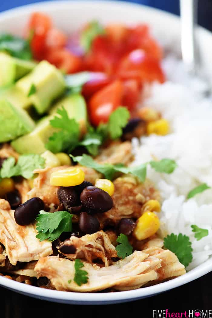 Instant Pot Chicken Burrito Bowl Close Up Shot