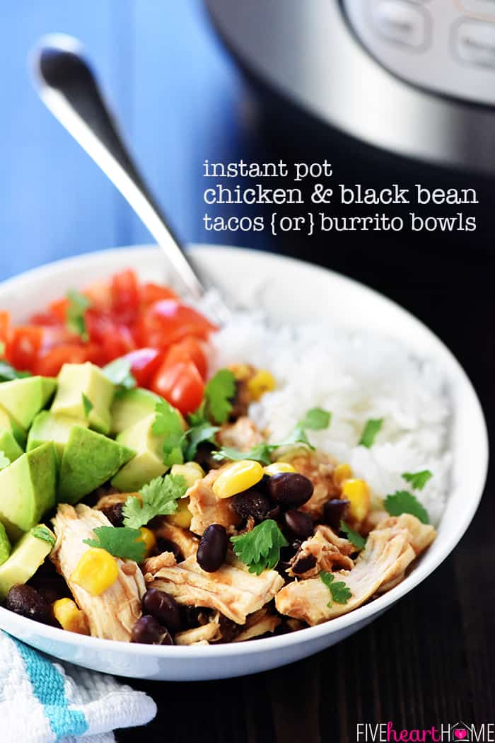 Instant Pot Chicken & Black Bean Tacos ~ this tender, flavorful filling -- loaded with chicken, black beans, corn, salsa, and taco seasoning -- is effortlessly made in the pressure cooker and also makes a great addition to Burrito Bowls! | FiveHeartHome.com