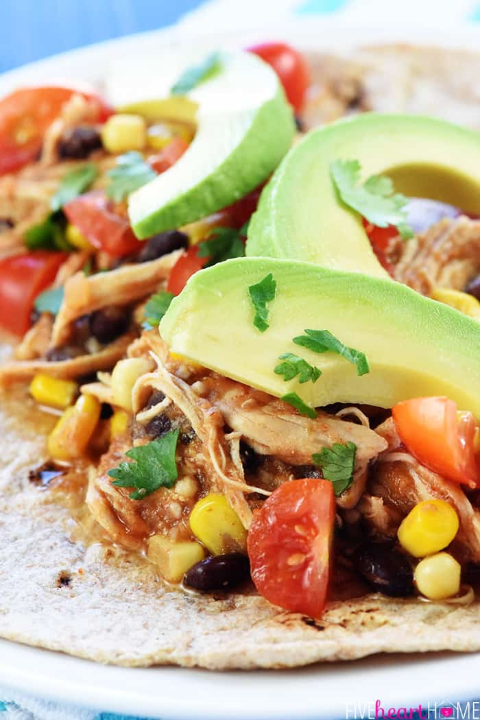 Instant Pot Chicken Tacos with Avocado