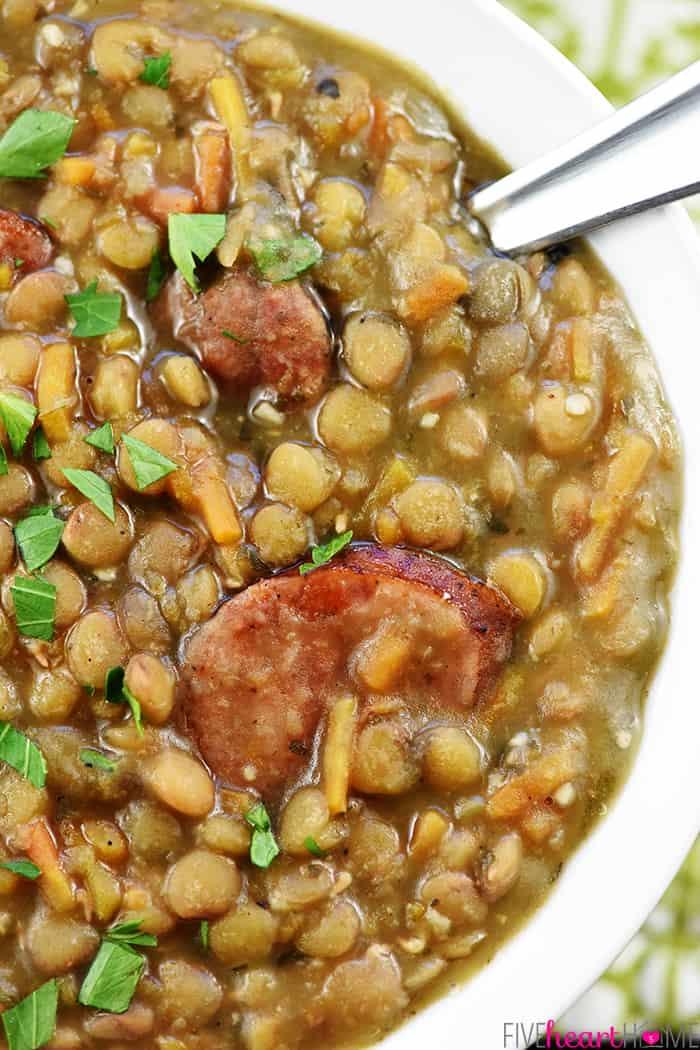 Instant Pot Lentil Soup with Ham Served in Bowl
