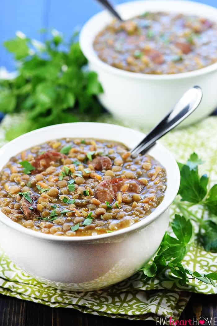 Instant Pot German Lentil Soup in two white bowls.