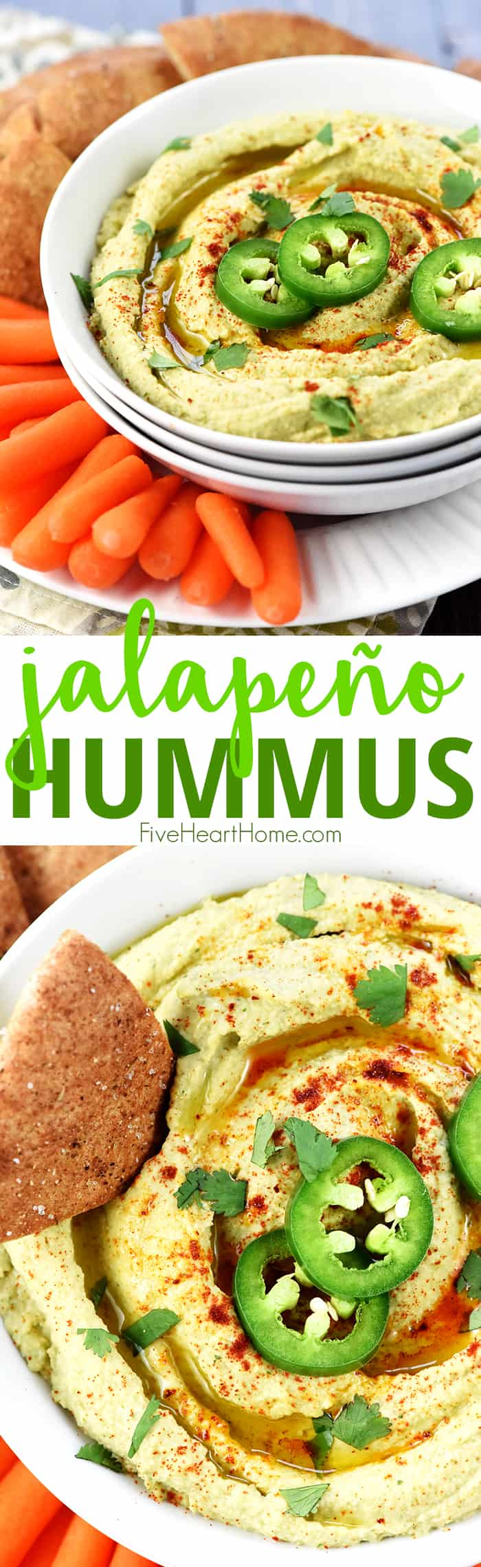Jalapeño Hummus ~ classic hummus gets a zippy kick in this healthy, flavorful, quick and easy dip for pita wedges or your favorite raw veggies! | FiveHeartHome.com via @fivehearthome