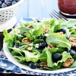 Brain Healthy Salad ~ loaded with leafy greens, blueberries, walnuts, and extra-virgin olive oil for an easy, tasty way to enjoy brain-protective foods in your diet! | FiveHeartHome.com