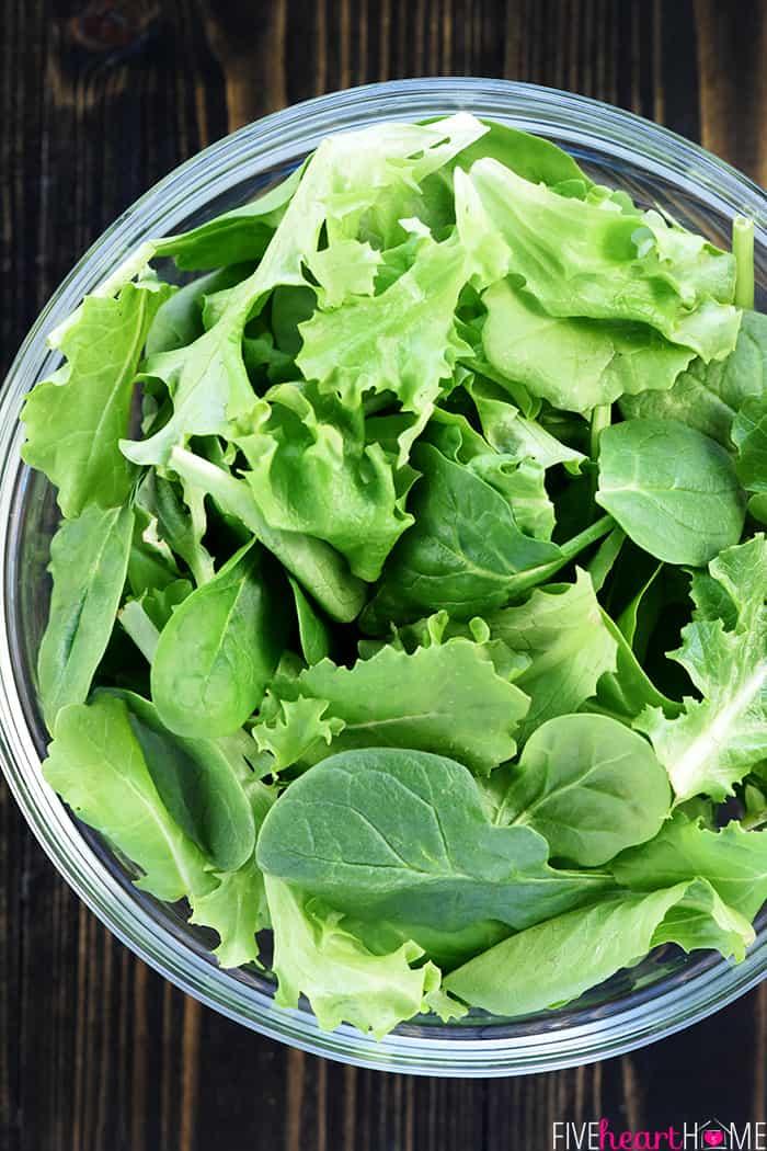 Bowl of leafy greens.