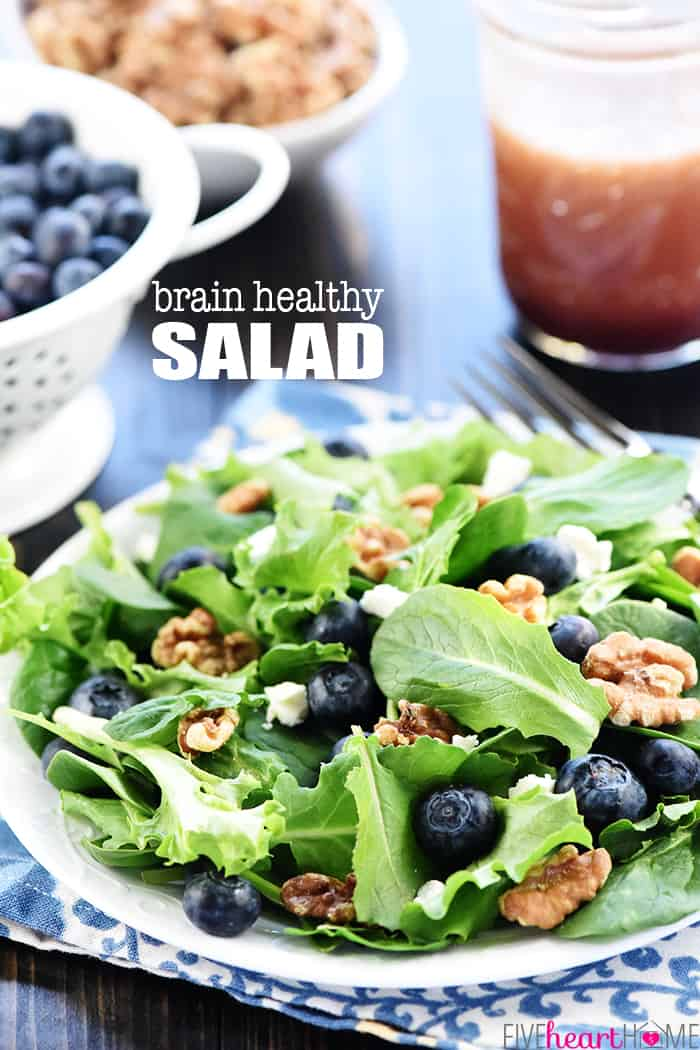 Brain Healthy Salad Recipe ~ loaded with leafy greens, blueberries, walnuts, and extra-virgin olive oil for an easy, tasty way to enjoy brain-protective foods in your diet! | FiveHeartHome.com