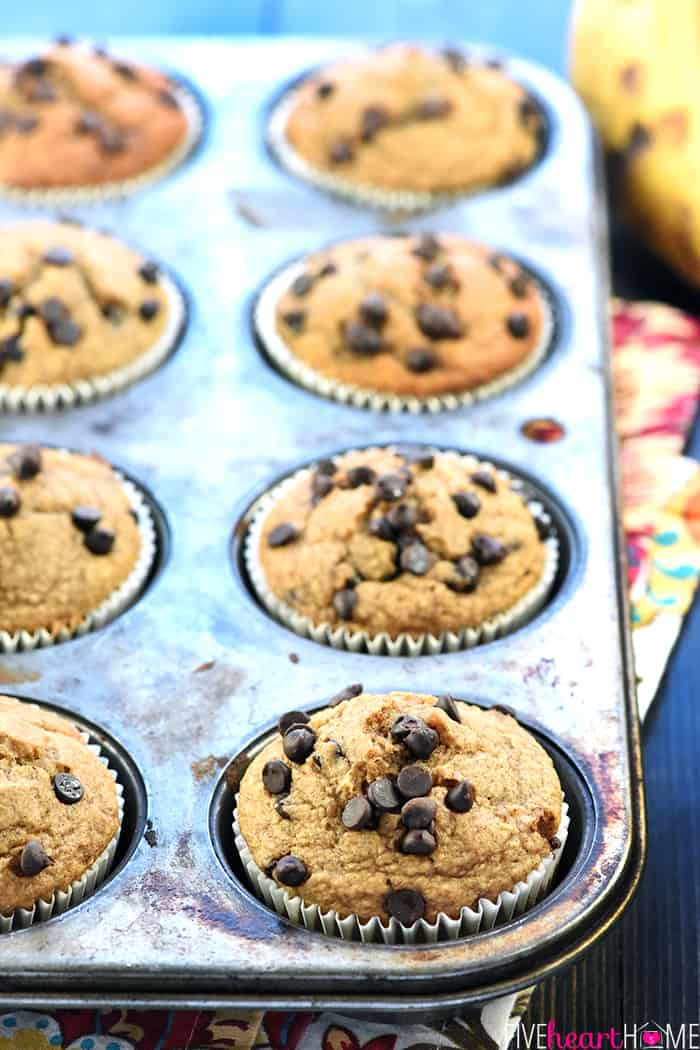 Blender Banana Oat Muffins in baking muffin tin