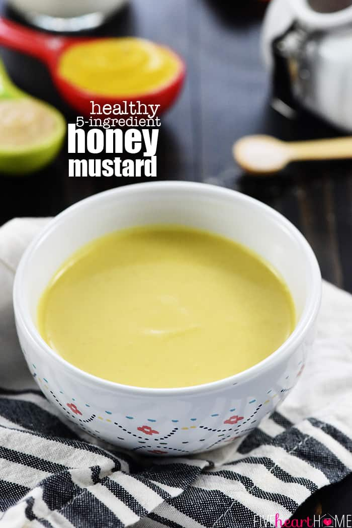 Healthy Homemade Honey Mustard Recipe ~ this lightened-up dipping sauce comes together in a few minutes with only five ingredients, including healthy Greek yogurt and no mayo! | FiveHeartHome.com