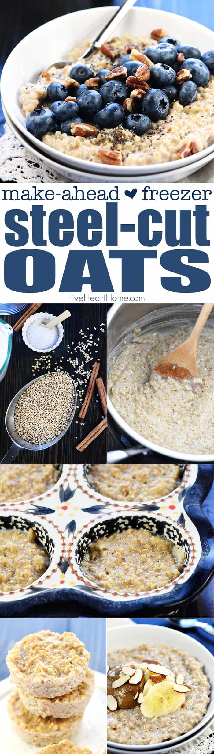 Frozen Steel Cut Oats collage of finished oats and step by step pictures with text overlay