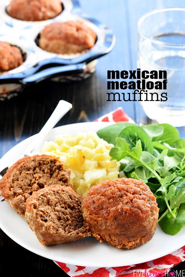 Mexican Meatloaf Muffins Recipe ~ simple to make, quick to cook, and full of zesty flavor from homemade taco seasoning and salsa! | FiveHeartHome.com