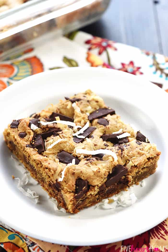 Best Blondies Recipe with shredded coconut