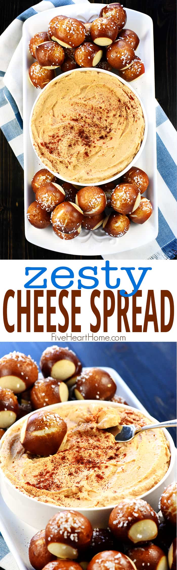 Zesty Cheese Spread photo collage with text overlay
