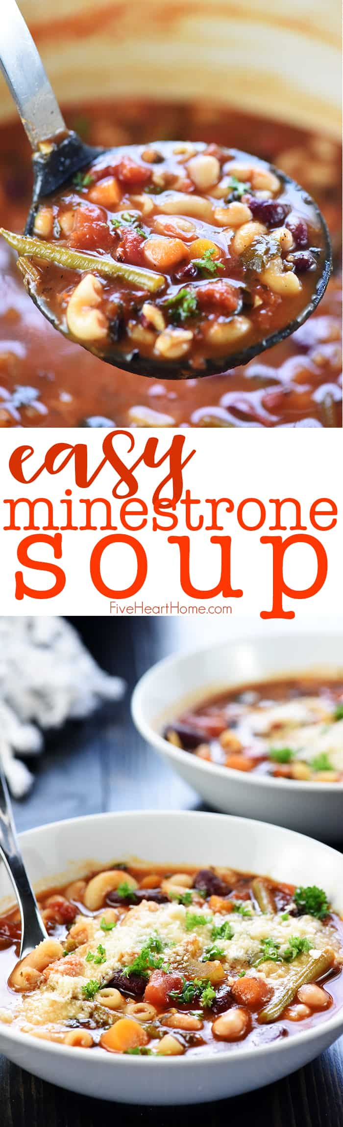 Easy Minestrone Soup ~ this recipe is healthy, flavorful, and simple to customize using your favorite vegetables! | FiveHeartHome.com