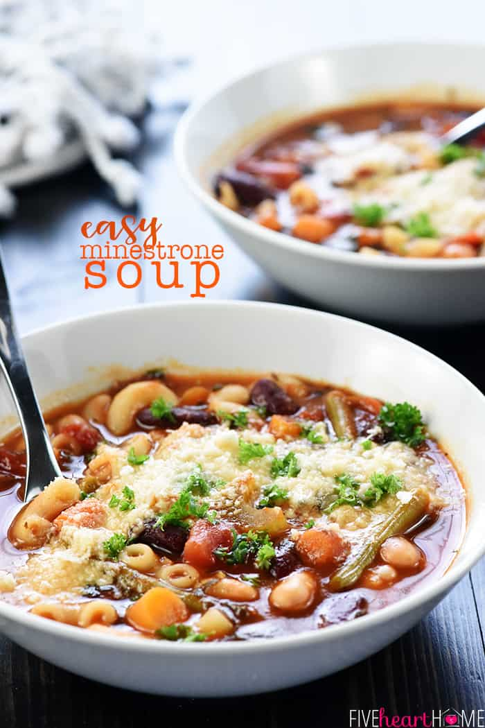 Easy Minestrone Soup Recipe ~ healthy, flavorful, and simple to customize using your favorite vegetables! | FiveHeartHome.com