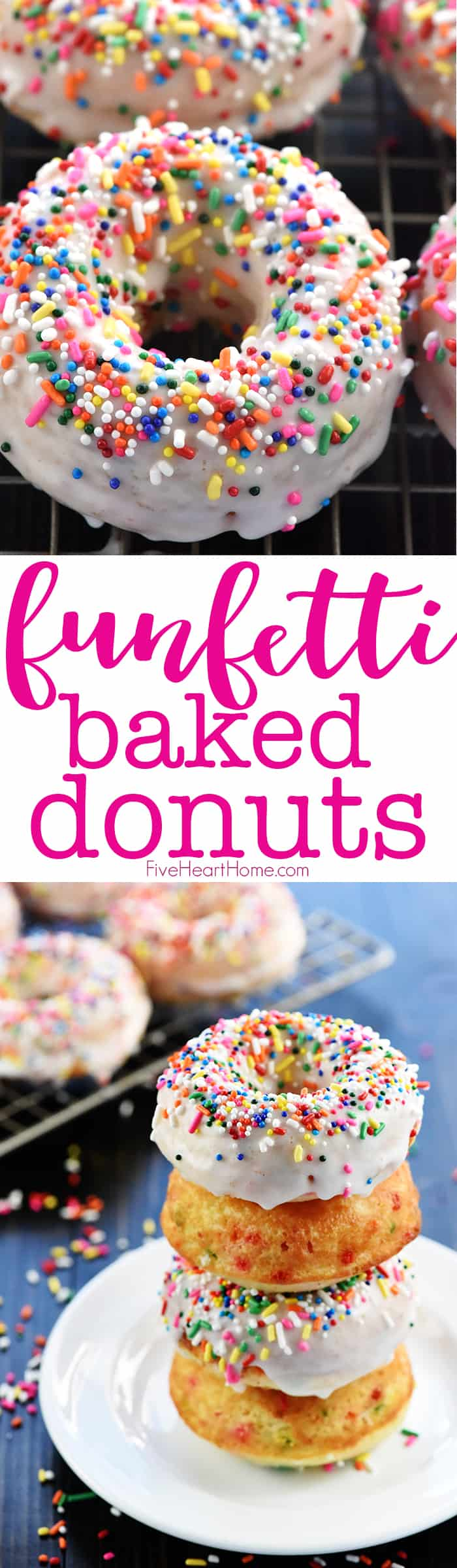 Funfetti Baked Donuts ~ coated with a simple vanilla glaze and loaded with colorful sprinkles, these baked doughnuts are perfect as a birthday treat or for any celebration! | FiveHeartHome.com via @fivehearthome