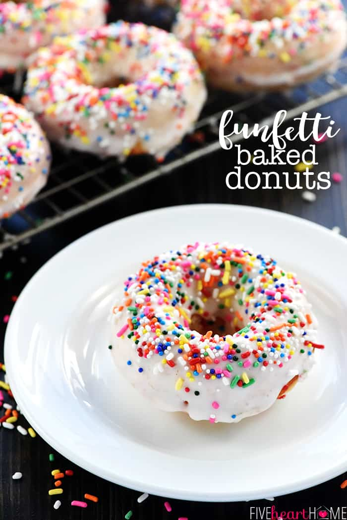 Funfetti Baked Donuts Recipe ~ coated with a simple vanilla glaze and loaded with colorful sprinkles, these baked doughnuts are perfect as a birthday treat or for any celebration! | FiveHeartHome.com