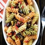 Aerial view of Easy Pasta Salad in oval bowl.