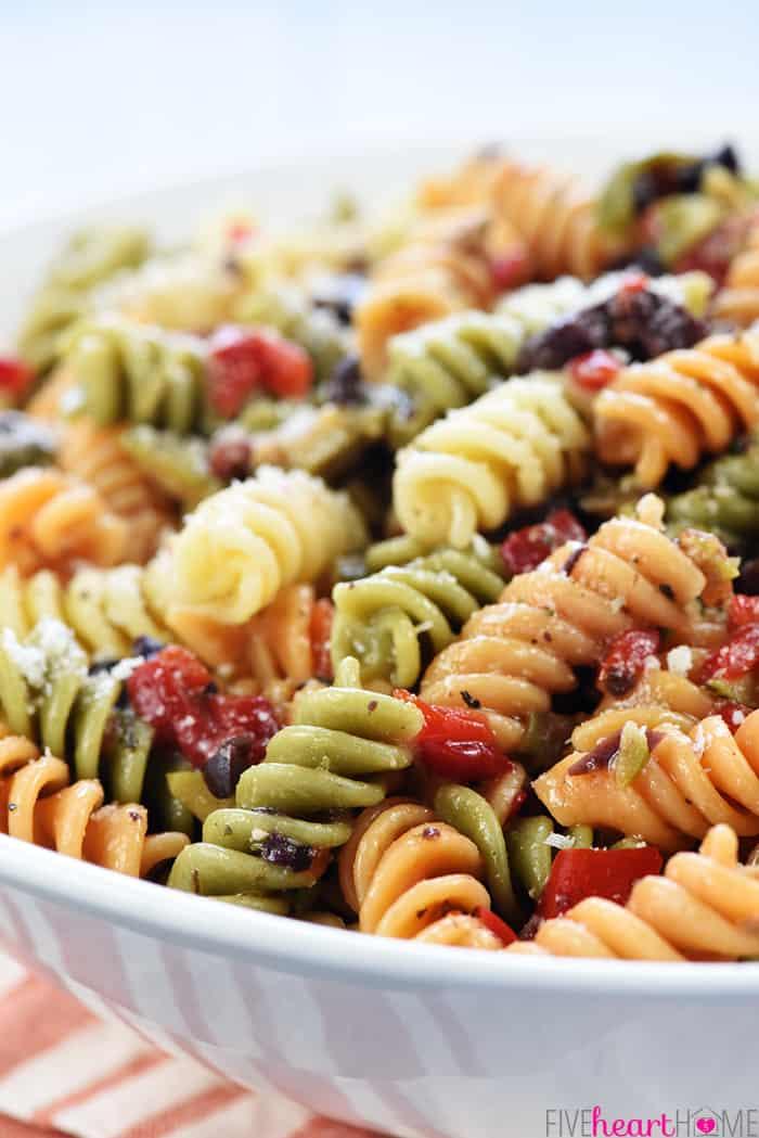 Rotini, olives, pimentos, parmesan, Italian dressing