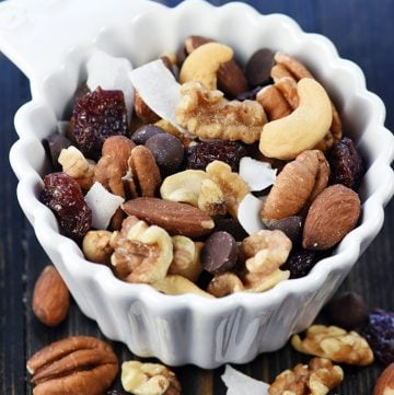 Trail Mix in small white bowl.