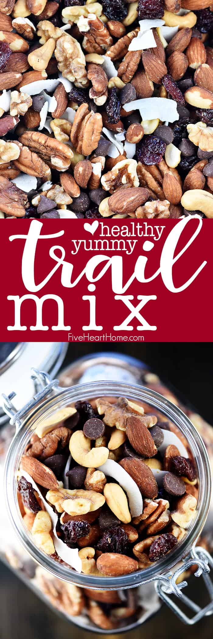 Trail Mix collage with close up and jar