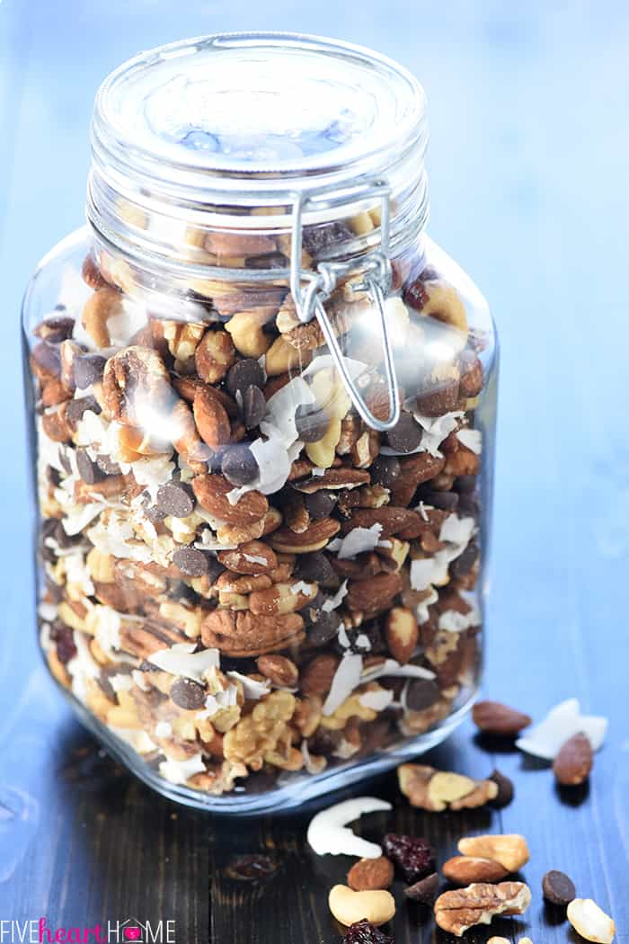 Trail Mix Recipe in jar