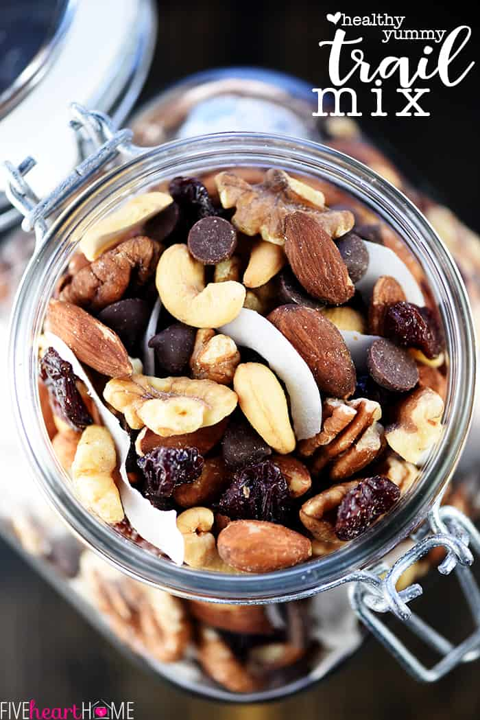 Healthy Homemade Trail Mix ~ loaded with healthy fats from wholesome nuts, dried fruit, and your favorite add-ins, it's easy to make and customize this recipe! | FiveHeartHome.com