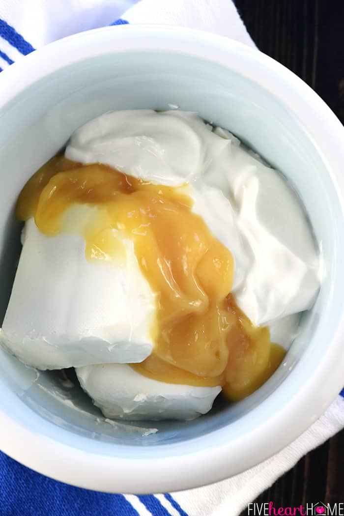 Cream Cheese and Greek Yogurt and Lemon Curd in a bowl