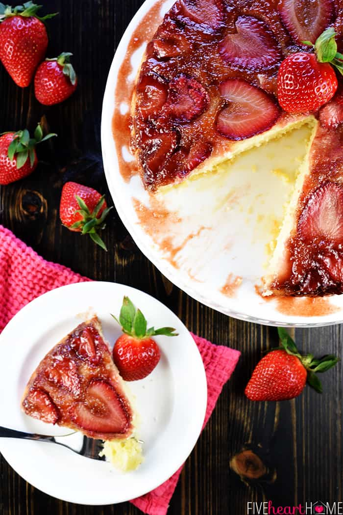 Strawberry Upside-Down Cake aerial view
