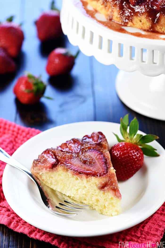 Slice of Fresh Strawberry Upside-Down Cake