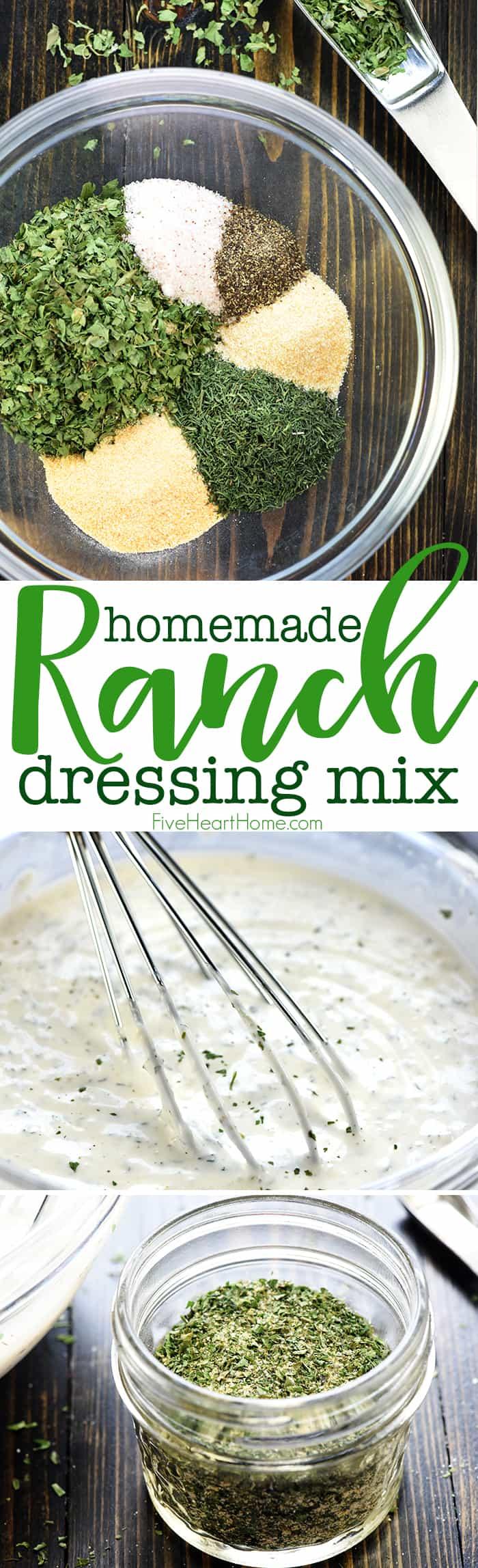 Homemade Ranch Dressing Mix ~ an easy, DIY, dry seasoning mix, perfect for whipping up homemade ranch salad dressing or flavoring other recipes! | FiveHeartHome.com