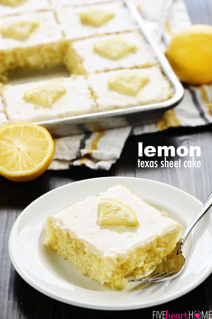 Lemon Texas Sheet Cake Recipe ~ a super moist, homemade cake topped with a tangy lemon glaze...it's easy to make and it feeds a crowd! | FiveHeartHome.com