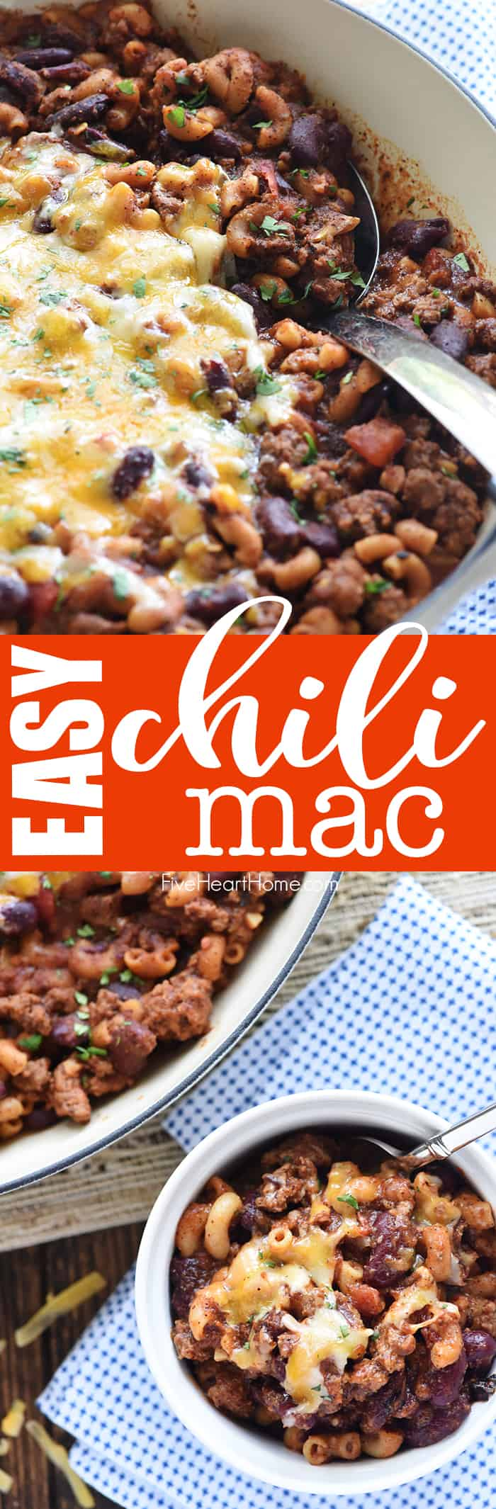 Chili Mac ~ a quick, easy, family-friendly dinner recipe featuring ground beef, beans, pasta, and cheese in a zippy tomato sauce made in just one skillet! | FiveHeartHome.com