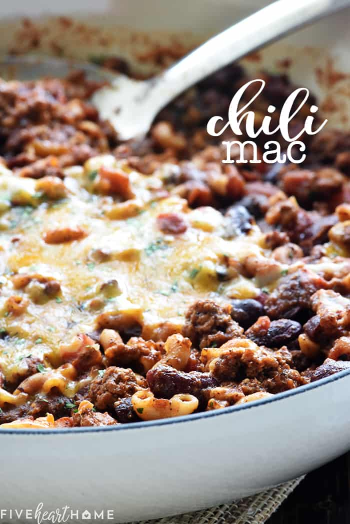 Chili Mac Recipe ~ a quick, easy, family-friendly dinner featuring ground beef, beans, pasta, and cheese in a zippy tomato sauce made in just one skillet! | FiveHeartHome.com
