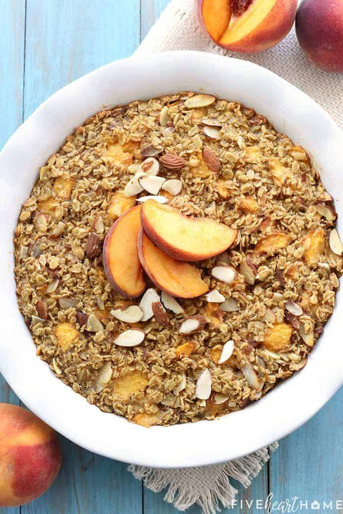 Peach Baked Oatmeal _ this wholesome and delicious recipe is bursting with healthy, real food ingredients for a make-ahead breakfast that will fuel you through the morning! | FiveHeartHome.com