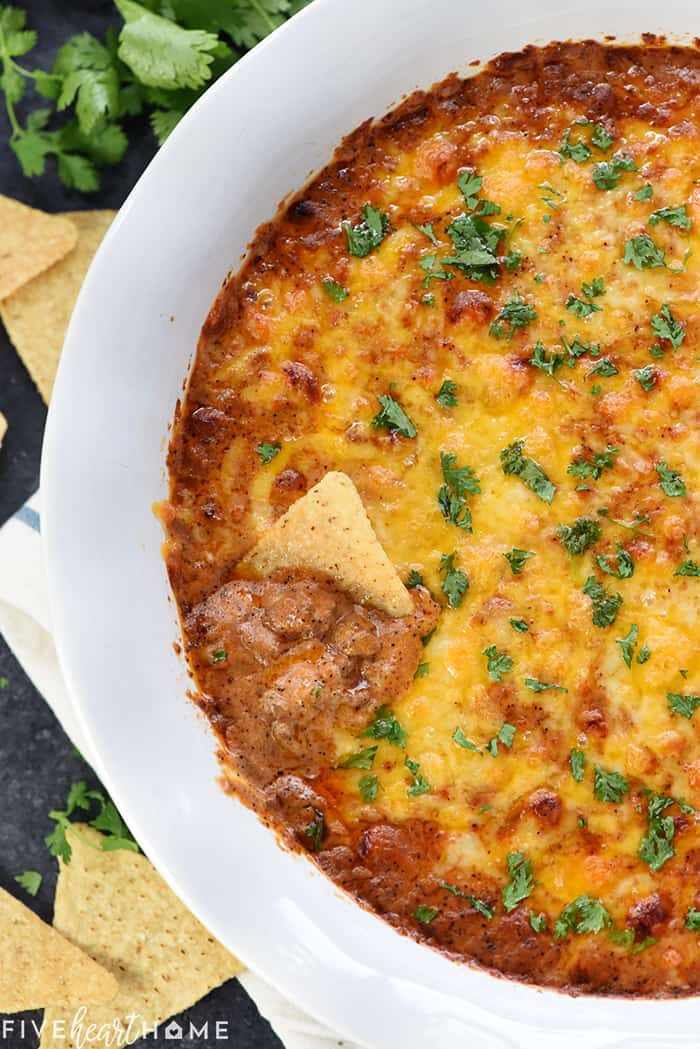 Aerial view of Enchilada Dip with tortilla chips.