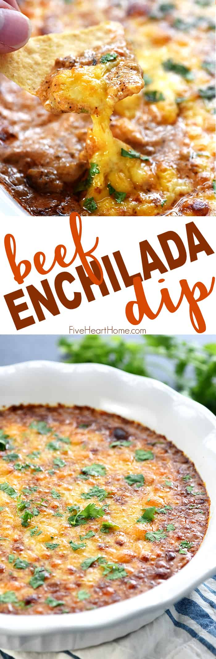 Beef Enchilada Dip ~ this creamy, cheesy appetizer has the great flavor of beef enchiladas in an easy-to-make, addictive dip...perfect for parties, get-togethers, and game day! | FiveHeartHome.com
