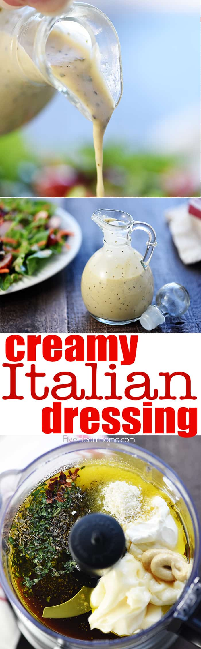 Homemade Creamy Italian Dressing ~ zesty, flavorful, and easy to make...a delicious topping for a crisp green salad or your favorite pasta salad! | FiveHeartHome.com