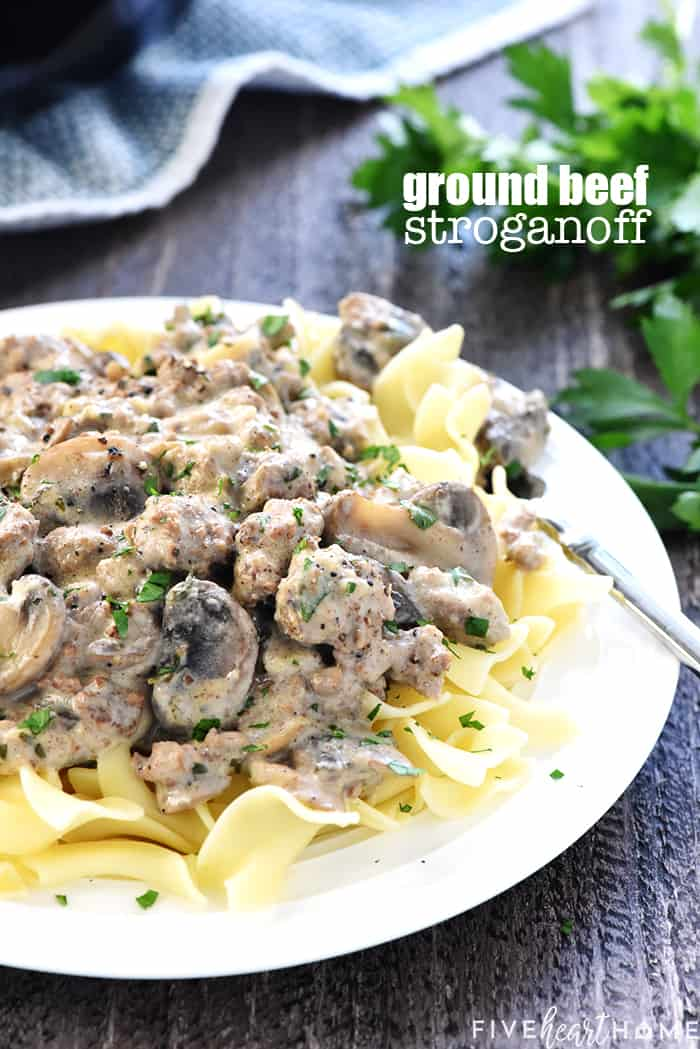 Ground Beef Stroganoff Recipe ~ a delicious, quick and easy version of the classic, loaded with garlicky mushrooms and finished off with a silky sour cream sauce! | FiveHeartHome.com