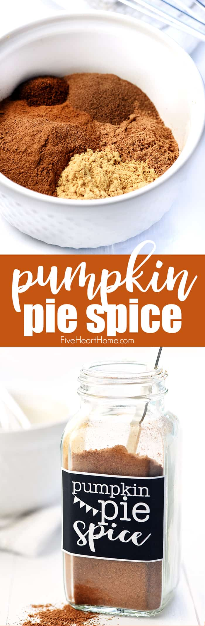 Pumpkin Pie Spice ~ a homemade spice blend that can be made in bulk and tweaked to your liking, perfect for flavoring all of your favorite fall treats! | FiveHeartHome.com