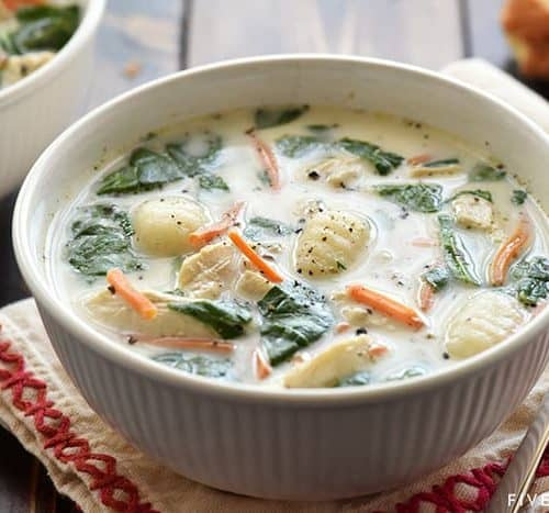 Slow Cooker Olive Garden Chicken Gnocchi Soup Fivehearthome