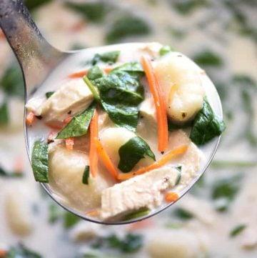 Slow Cooker Chicken Gnocchi Soup (Olive Garden Copycat)